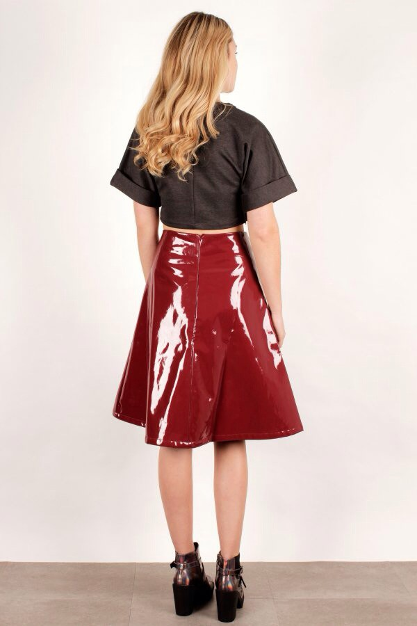 Skirt: patent leather, midi skirt, burgundy skirt - Wheretoget