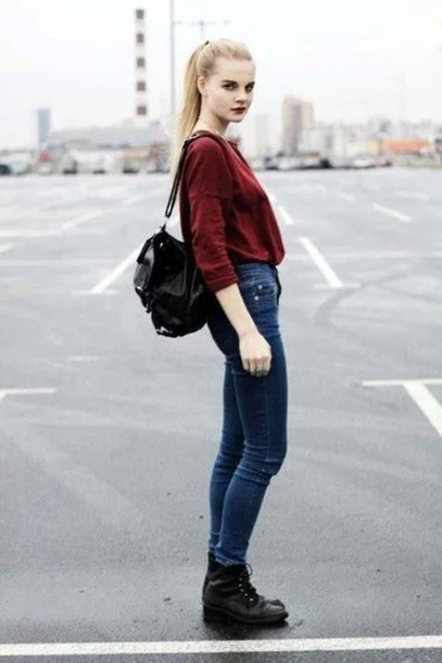 sweater tunic burgundy sweater burgundy bag black boots jeans denim