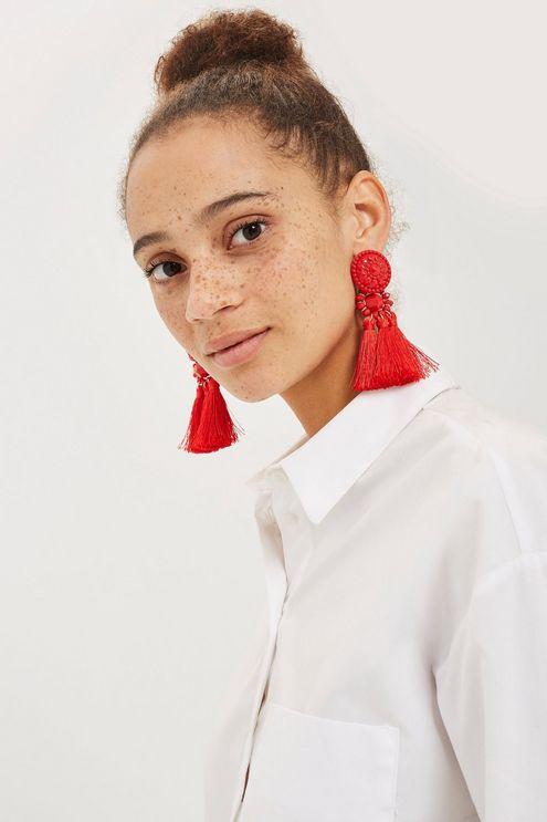 **Red Bead and Tassel Drop Earrings