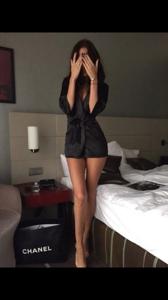 pajamas underwear pajamas black robe silk