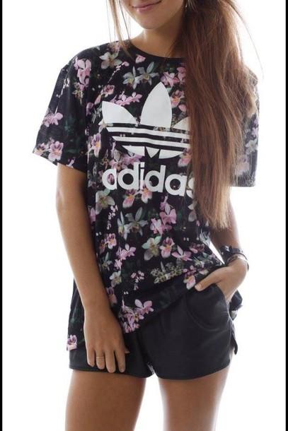 shirt adidas shirt floral top adidas t-shirt