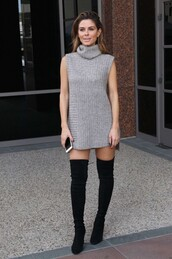 dress,sweater,sweater dress,turtleneck,maria menounos,fall outfits,over the knee boots,shoes,thigh-high boots,boots,thigh high boots