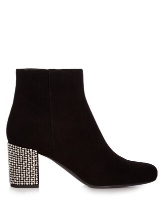 heel suede ankle boots boots ankle boots suede black shoes