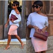 pencil skirt,pink dress,pink,grey,floral dress,flowers,embossment,embroidered,skirt,print,design,grey oversized sweater,off the shoulder sweater