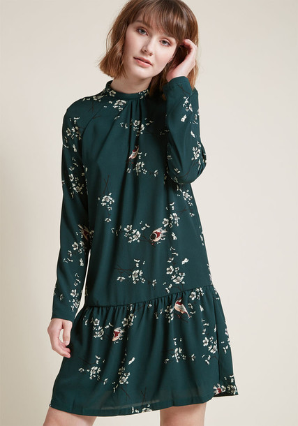 10188775 dress shift dress birds long perfect print green