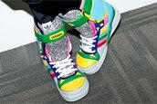 yellow shoes,green shoes,multicolor shoes,grey shoes,blue shoes,jeremy scott,shoes