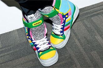 yellow shoes green shoes multicolor shoes grey shoes blue shoes jeremy scott