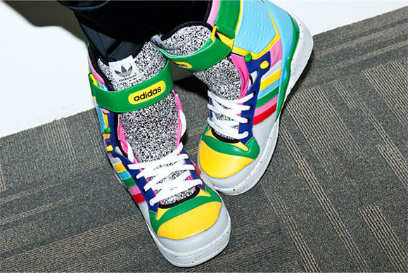 yellow shoes green shoes multicolor shoes grey shoes blue shoes jeremy scott