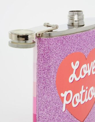 home accessory dinnerware flask shimmer shiny glitter girly heart love love potion quote on it valentines day