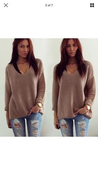 sweater nude baggy beige sweater