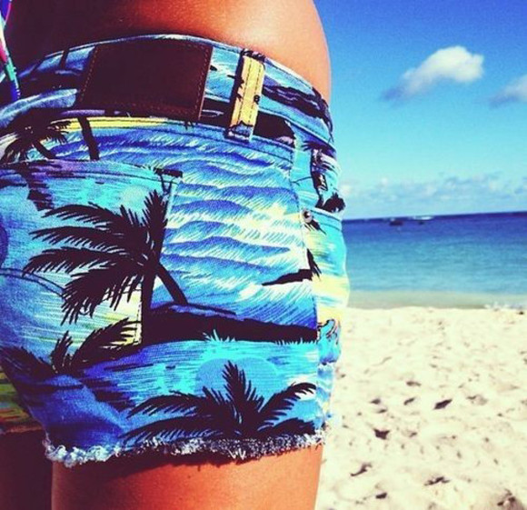 shorts sea swimwear beach palm tree print pants