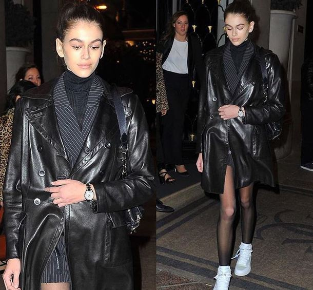dress blazer blazer dress kaia gerber model off-duty paris fashion week 2018 fashion week jacket