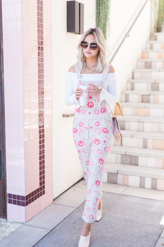 late afternoon blogger shirt shoes sunglasses bag jewels overalls spring outfits