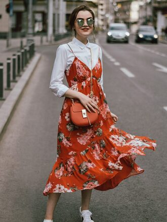 dress tumblr midi dress floral floral dress slip dress shirt dress white shirt sunglasses bag red bag shirt