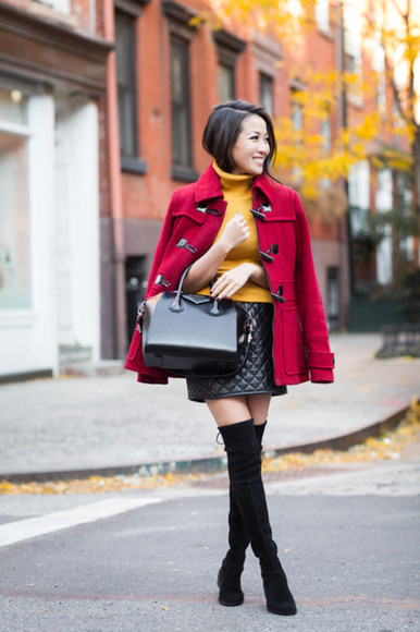wendy's lookbook blogger bag turtleneck thigh high boots mustard duffle coat