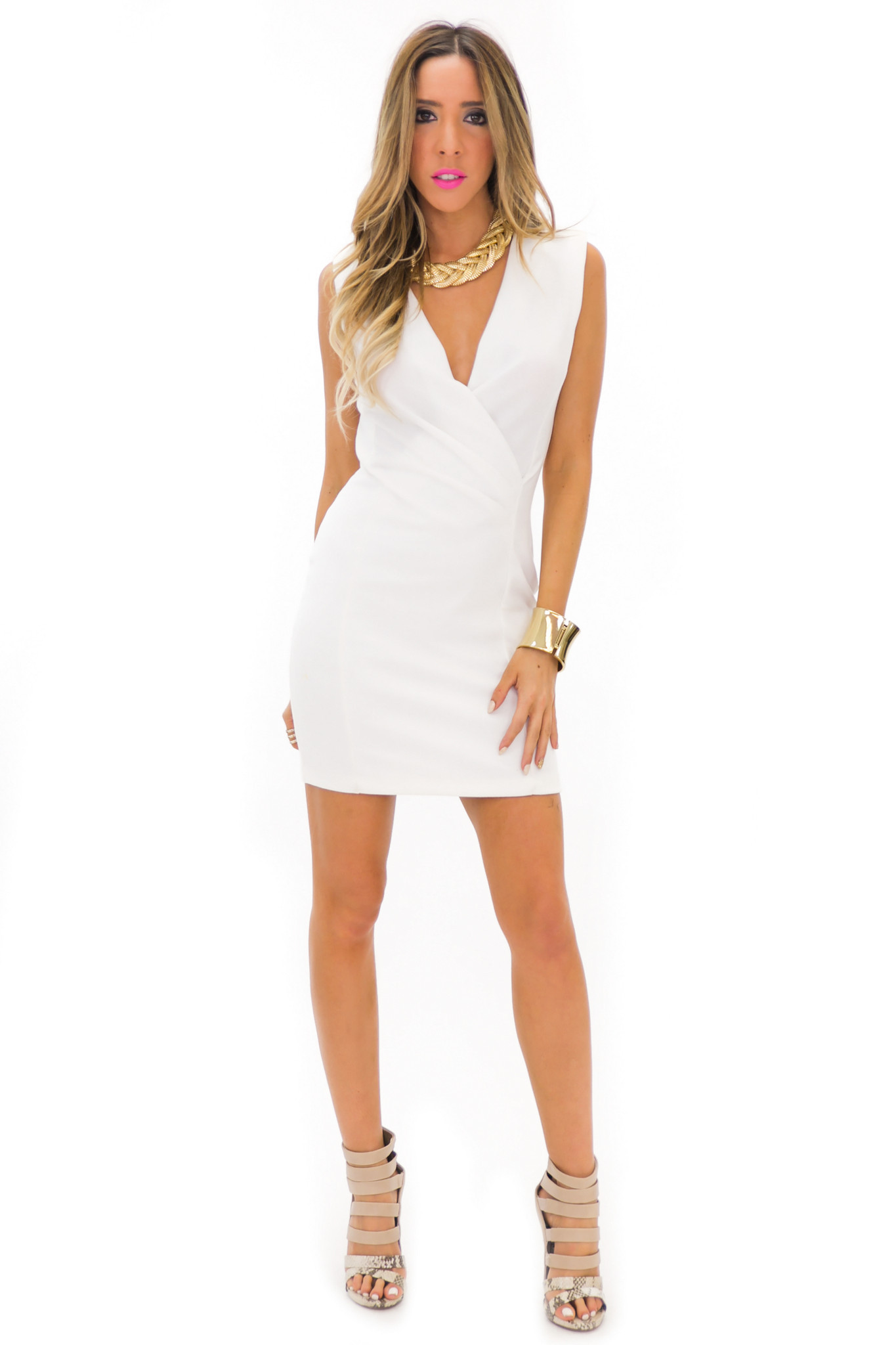 FRANCI SLEEVELESS DEEP-V DRESS - White | Haute & Rebellious