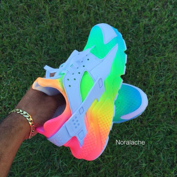 shoes rainbow nike hurraches huarache multicolor nike low top sneakers