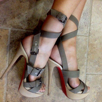 shoes grey beige red heels open toes strappy strappy heels high heels opentoe high heels akle strap