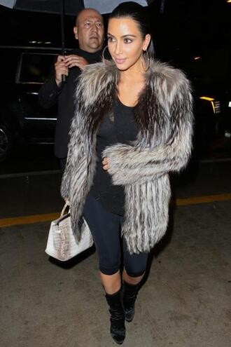 boots kim kardashian bag faux fur tank top