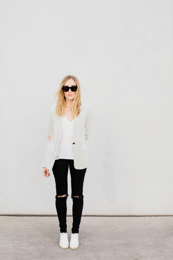 eat sleep wear blogger jacket jeans shoes tank top stripes white top black jeans ripped jeans office outfits