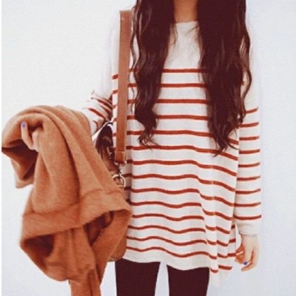 sweater stripes loose sweater