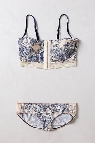 underwear nice pretty hipster vintage corset bustier crop top print lingerie set bra cute blue and white