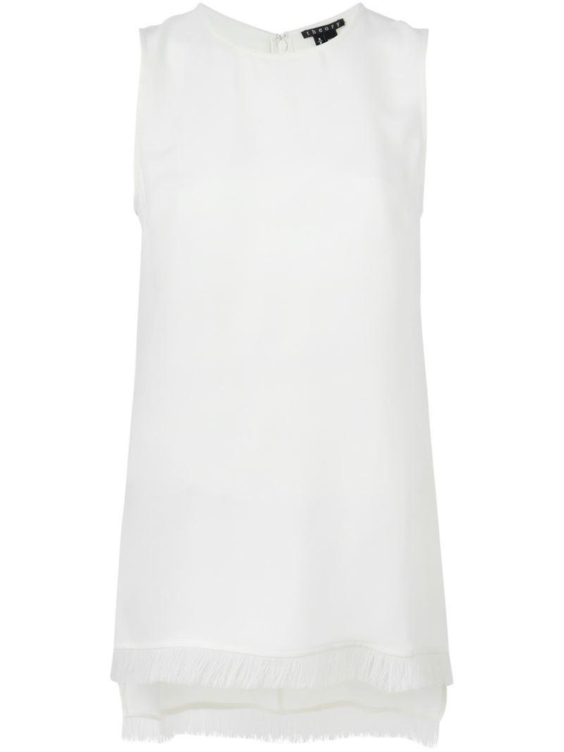 96624bb6059 Theory fringed hem sleeveless top, Women's, Size: Medium, White, Silk