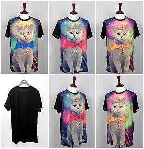 Galaxy cat graphic stellar print t shirts for womens short sleeve loose top blue | eBay