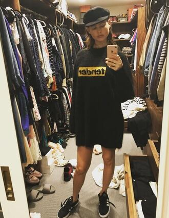 sweater sneakers behati prinsloo instagram sweater dress hat model off-duty