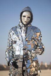 jacket,silver jacket,burning man,burning man clothing,burning man costume,festival,music festival