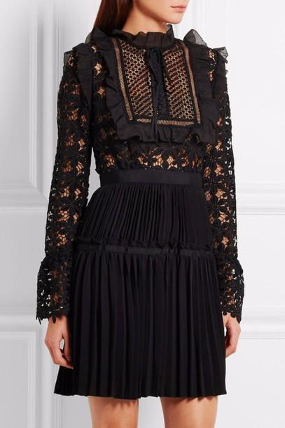 Dress Black Dress Lace Dress Pleats Ruffle Ruffle Dress