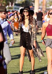skirt,top,nina dobrev,festival,coachella,music festival,ankle boots,hat,cardigan,jewels,jewelry,boho,boho chic,boho jewelry,bohemian,choker necklace,black choker,necklace,kimono