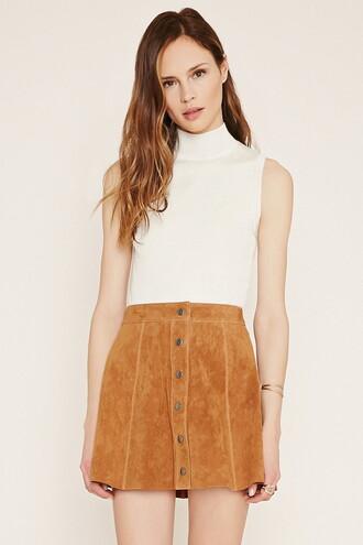 skirt suede skirt mini skirt