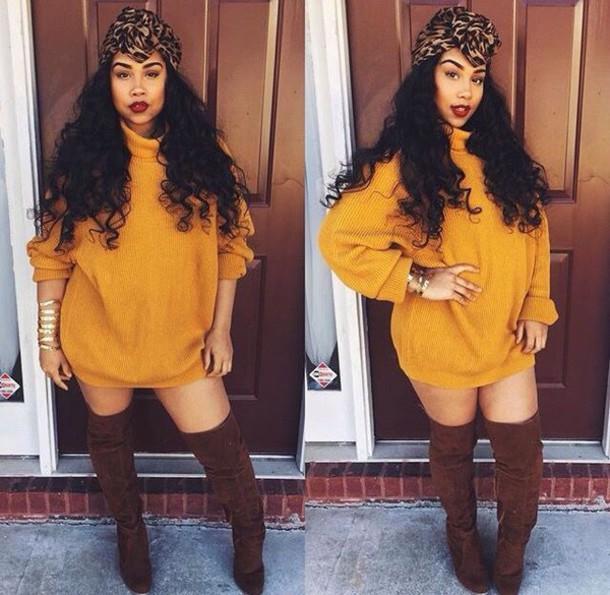 Mustard yellow oversized sweater dresses