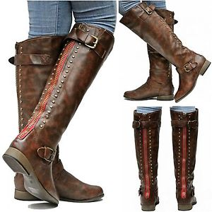 New Womens FL42 Brown Red Zipper Studded Riding Knee High Boots Sz 5 5 to 10 | eBay