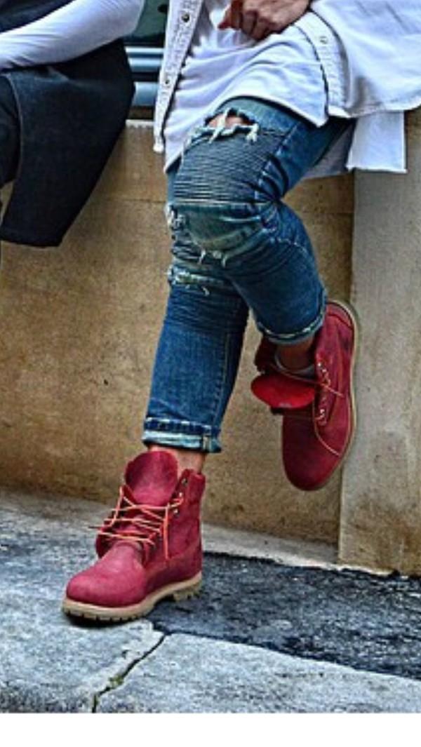 Shoes: menswear, timberlands, boots, burgundy, fashion ... Timberland