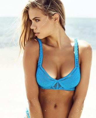 swimwear indah swimwear indah bikini top bikini blue neon crochet top crochet bikini ishine365