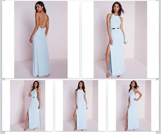 dress blue light blue low back backless strappy slit backless dress lowbackdress pastel