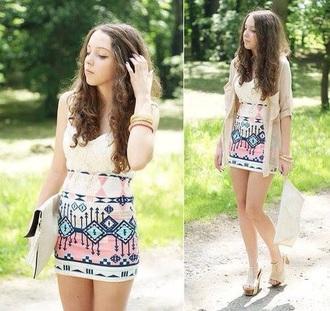 dress summer dress cream dress aztec dress