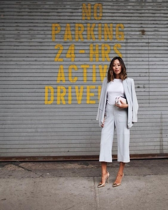 breakfastwithaudrey blogger shoes bag sunglasses blazer white top clutch grey pants high waisted pants gold shoes