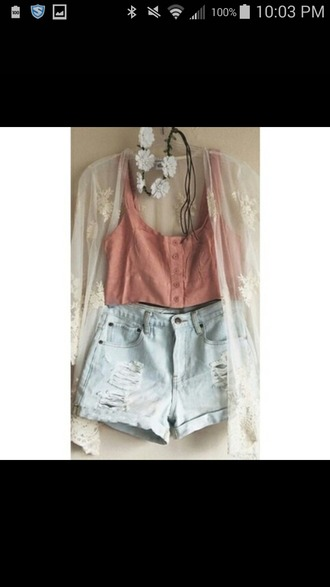 tank top lace cardigan shorts floral