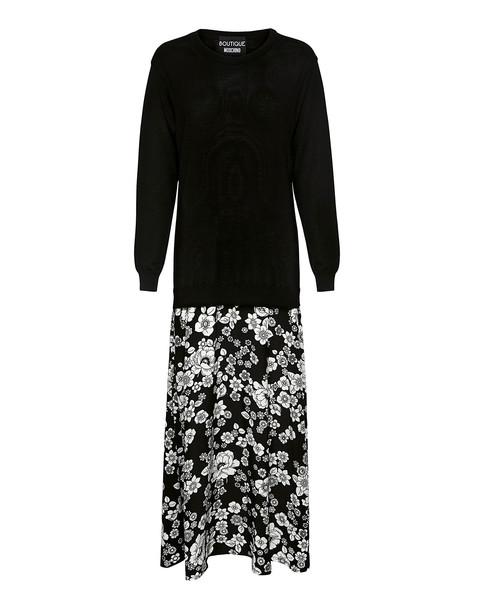 BOUTIQUE MOSCHINO dress maxi knit dress maxi floral white black knit