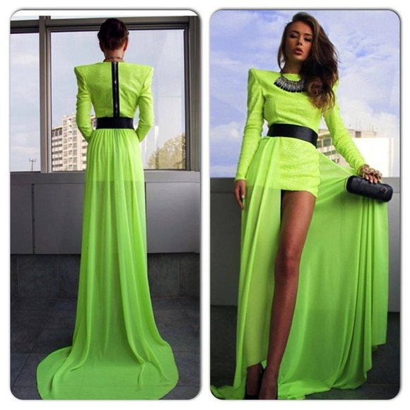 dress green dress maxi dress clothes green jewlery black belt black purse