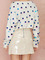 Cute colorful dotted white crop boat neck pullover sweater