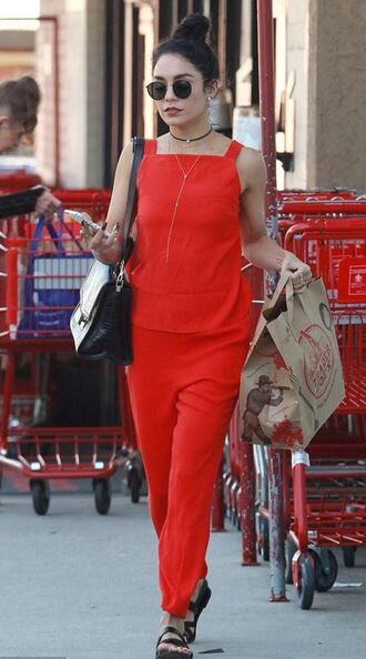 pants red vanessa hudgens jumpsuit sunglasses