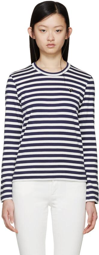t-shirt shirt heart navy white top