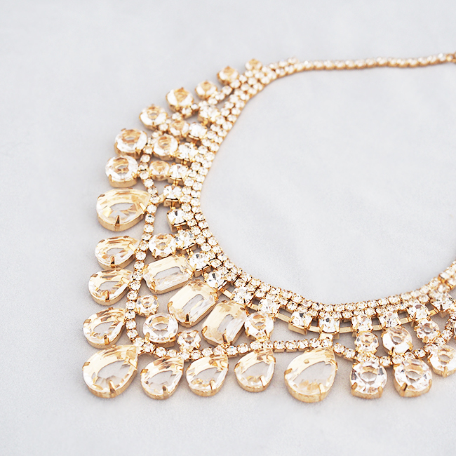 Statement imperial crystal bib necklace