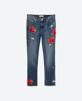 jeans zara embroidered embroidered jeans straight jeans fall outfits back to school