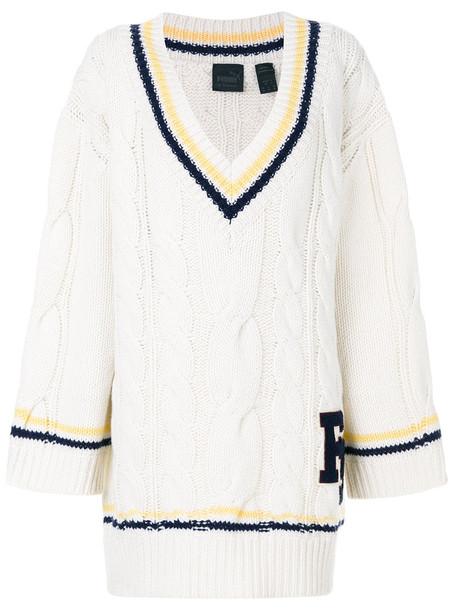 Fenty X Puma - cable knit cricket jumper - women - Polyamide/Wool - M, White, Polyamide/Wool