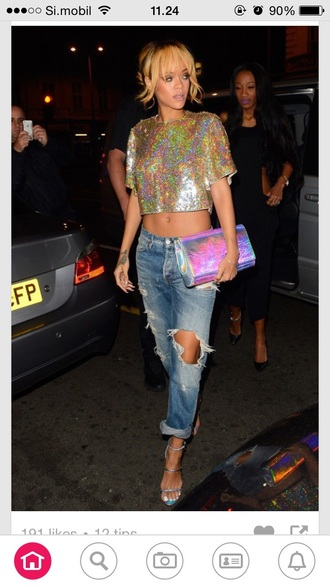 jeans ripped jeans rihanna rihanna jeans fashion blouse bag shoes